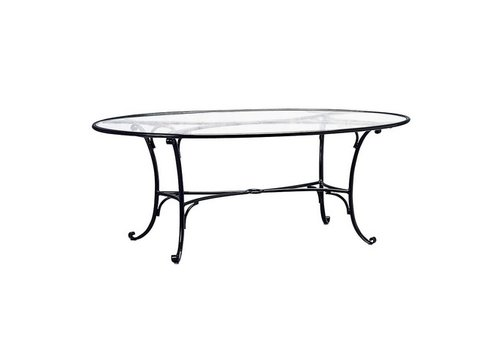BROWN JORDAN ROMA 50x86 OVAL UMBRELLA TABLE WITH GLASS TOP