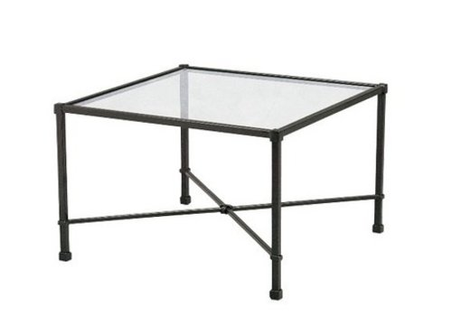 BROWN JORDAN VENETIAN 18 x 18  OCCASIONAL TABLE WITH GLASS TOP