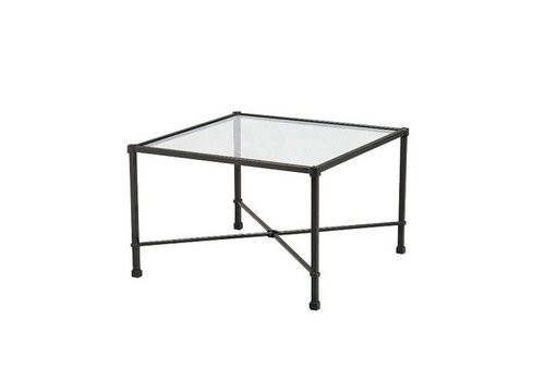 BROWN JORDAN VENETIAN 18 x 18  OCCASIONAL TABLE WITH GLASS TOP