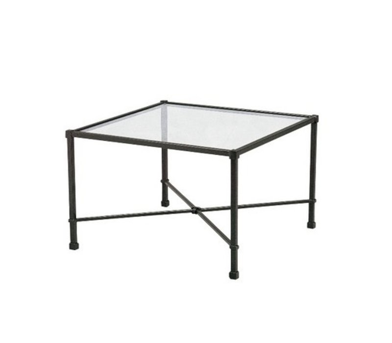 VENETIAN 18 x 18  OCCASIONAL TABLE WITH GLASS TOP