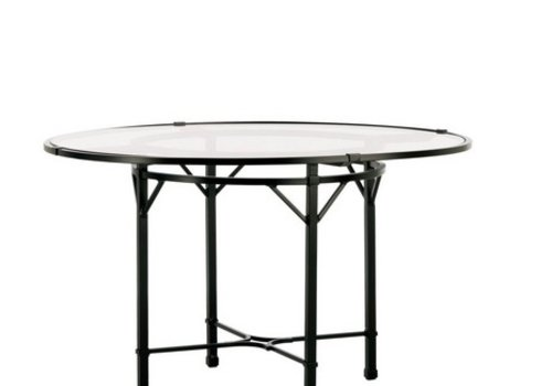 BROWN JORDAN VENETIAN 48 INCH ROUND DINING TABLE WITH GLASS TOP