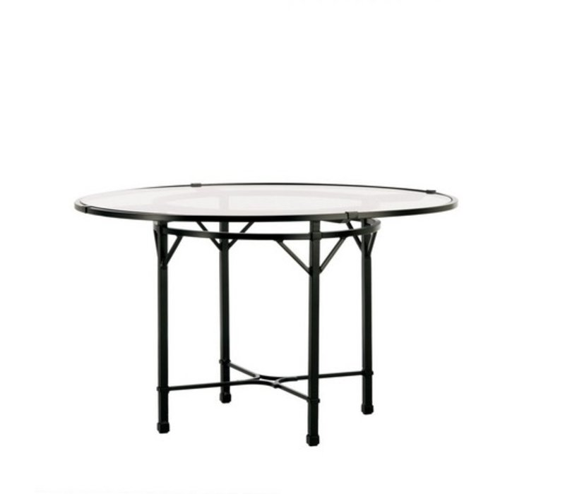 VENETIAN 48 INCH ROUND DINING TABLE WITH GLASS TOP