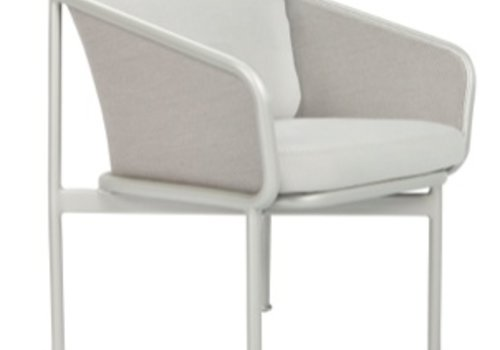 BROWN JORDAN VERGE DINING ARM CHAIR WITH CUSHIONS IN GARDE A FABRIC