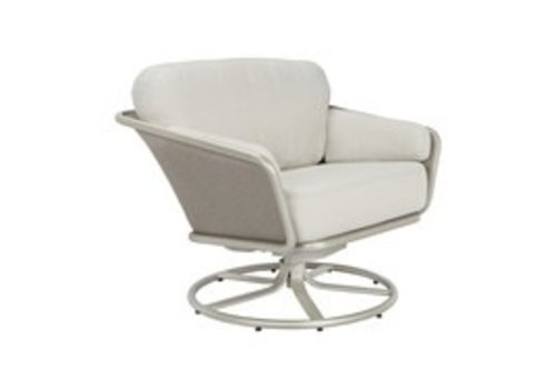 BROWN JORDAN VERGE SWIVEL LOUNGE CHAIR WITH CUSHIONS IN GRADE A FABRIC