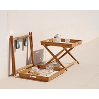 AMAZE FOLDING TRAY TABLE IN TEAK WITH WHITE ALUMINUM TOP