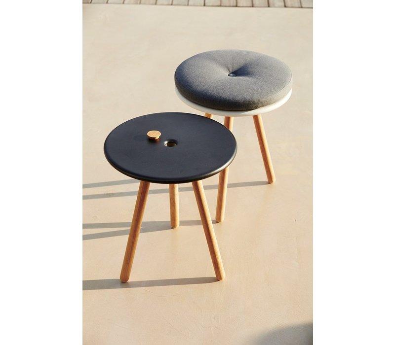 AREA TABLE/STOOL / WHITE ALUMINUM TOP AND TEAK LEGS