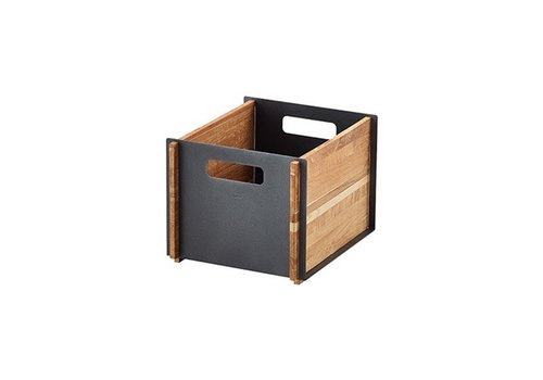 CANE-LINE BOX STORAGE IN TEAK WITH LAVA GREY ALUMINUM FRONT AND BACK PANEL
