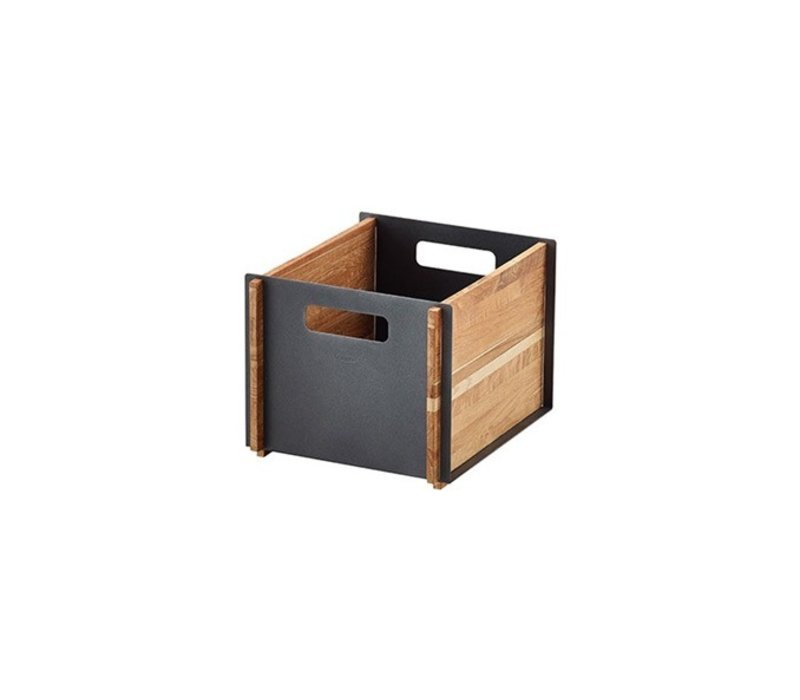 BOX STORAGE IN TEAK WITH LAVA GREY ALUMINUM FRONT AND BACK PANEL