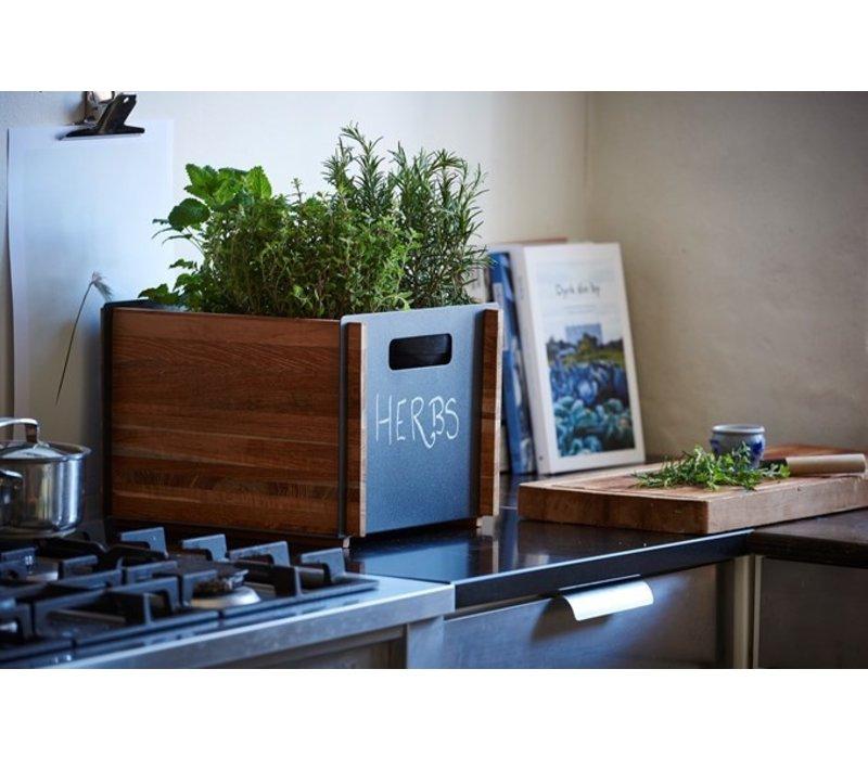 BOX 12x14 STORAGE BOX / TEAK WITH LAVA GREY ALUMINUM PANELS
