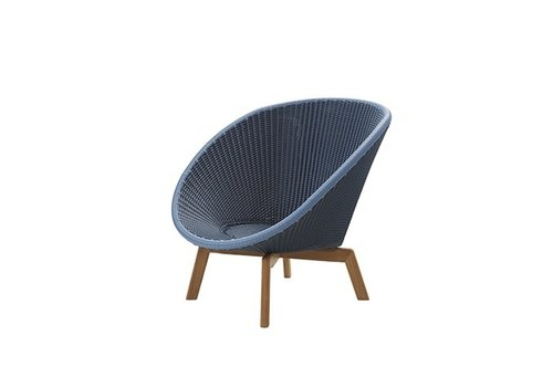 CANE-LINE PEACOCK LOUNGE CHAIR IN MIDNIGHT / DUSTY BLUE WEAVE WITH TEAK LEGS