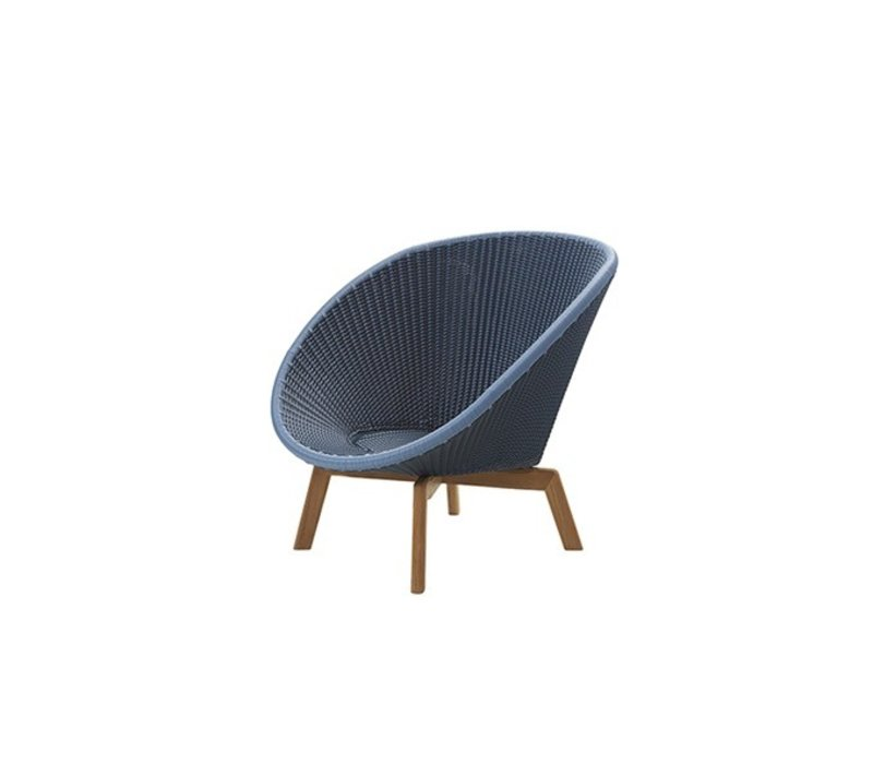 PEACOCK LOUNGE CHAIR IN MIDNIGHT BLUE/DUSTY BLUE WITH TEAK LEGS
