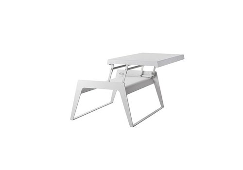 CANE-LINE CHILL-OUT COFFEE TABLE IN WHITE ALUMINUM WITH SINGLE DUAL HEIGHT TOP