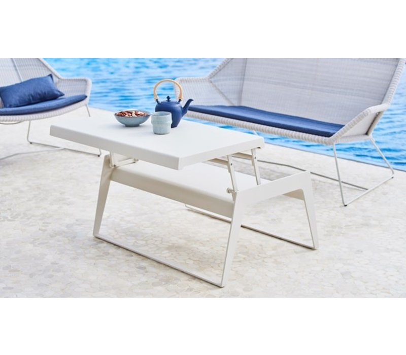 CHILL-OUT COFFEE TABLE IN WHITE ALUMINUM WITH SINGLE, DUAL HEIGHT TOP