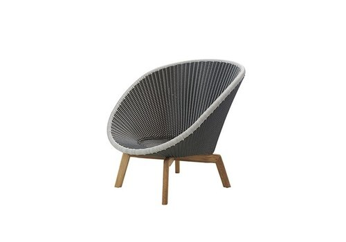 CANE-LINE PEACOCK LOUNGE CHAIR WITH GREY / LIGHT GREY WEAVE AND TEAK LEGS