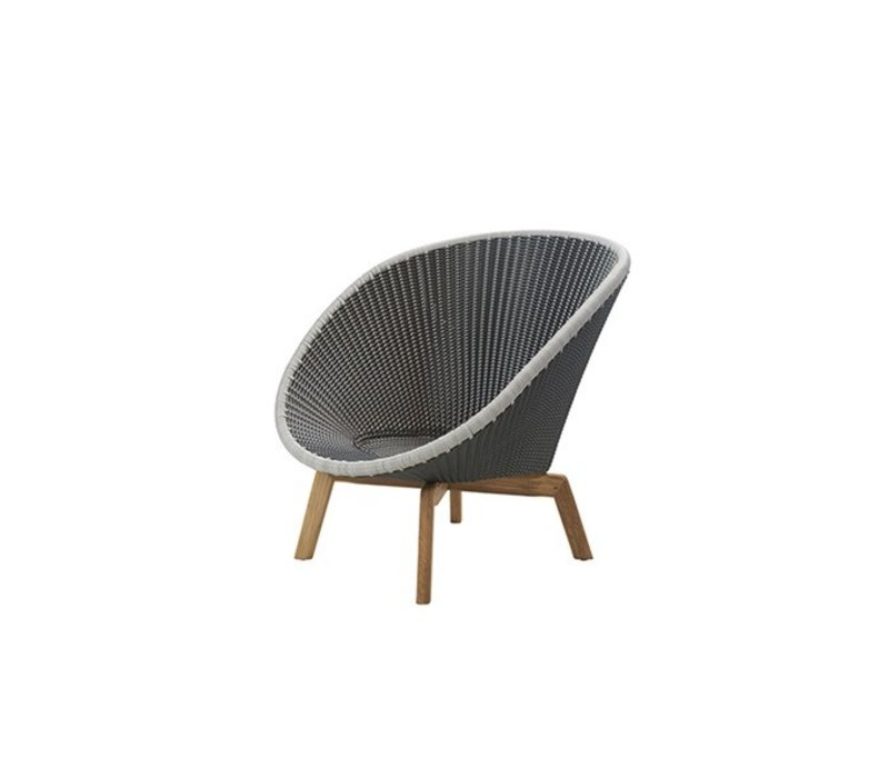 PEACOCK LOUNGE CHAIR WITH GREY / LIGHT GREY WEAVE AND TEAK LEGS