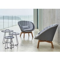 PEACOCK LOUNGE CHAIR IN GREY / LIGHT GREY WEAVE AND TEAK LEGS