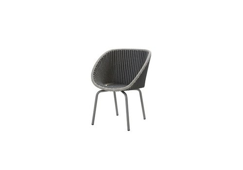 CANE-LINE PEACOCK DINING CHAIR IN GREY / LIGHT GREY WEAVE