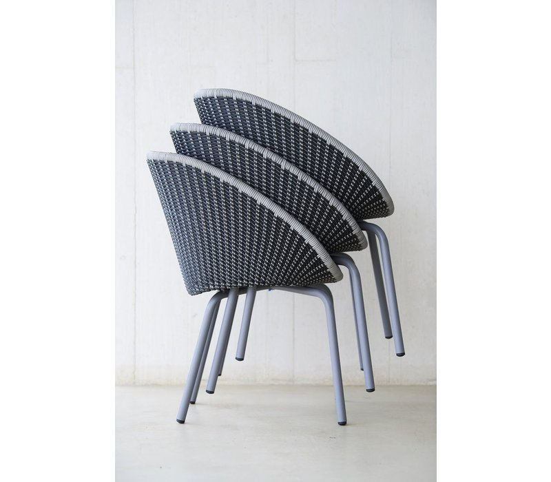 PEACOCK DINING CHAIR IN GREY AND LIGHT GREY CANE-LINE FIBRE