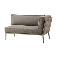 CONIC 2-SEATER SOFA LEFT MODULE WITH CUSHION IN BROWN CANE-LINE SOFT TOUCH