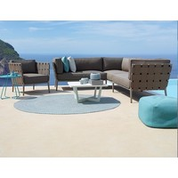 CONIC 2 SEATER SOFA RIGHT MODULE WITH CUSHIONS IN BROWN, CANE-LINE SOFT TOUCH