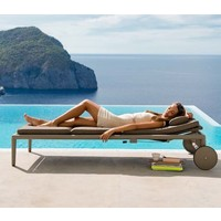 CONIC SUNBED WITH CUSHION IN BROWN, CANE-LINE SOFTTOUCH