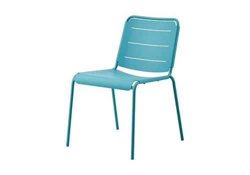 CANE-LINE COPENHAGEN ALUMINUM SIDE CHAIR IN AQUA / SOLD IN SETS OF 2 ONLY