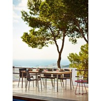 CORE 83x39 DINING TABLE WITH TAUPE ALUMINUM FRAME AND TEAK TOP