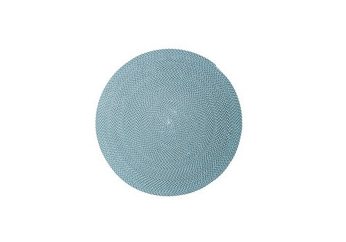 CANE-LINE DEFINED 55 INCH OUTDOOR RUG IN TURQUOISE, BEIGE AND GREY