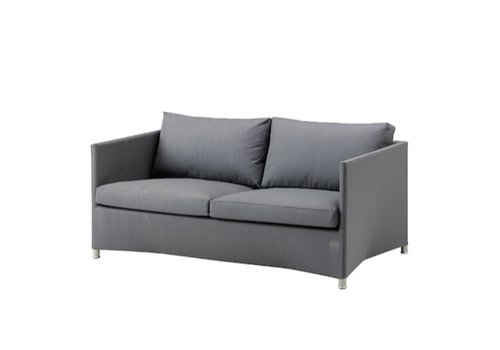 CANE-LINE DIAMOND 2-SEATER SOFA WITH CUSHION IN GREY, CANE-LINE TEX