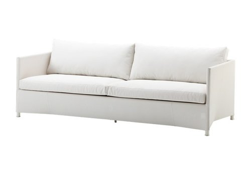 CANE-LINE DIAMOND 3-SEATER SOFA IN WHITE TEX WITH CUSHIONS IN WHITE TEX