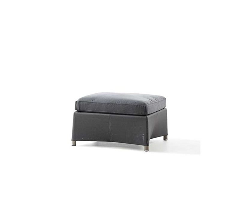 DIAMOND FOOTSTOOL IN GREY TEX WITH CUSHION IN GREY SUNBRELLA NATTE