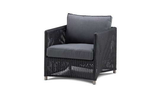 CANE-LINE DIAMOND LOUNGE CHAIR IN GRAPHITE WEAVE WITH CUSHIONS IN GREY SUNBRELLA NATTE