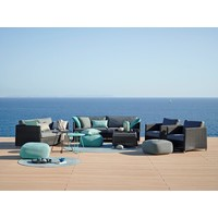 DIAMOND LOUNGE CHAIR IN GRAPHITE WEAVE WITH CUSHIONS IN GREY SUNBRELLA NATTE