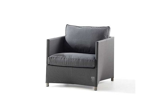 CANE-LINE DIAMOND LOUNGE CHAIR WITH CUSHIONS IN GREY SUNBRELLA NATTE