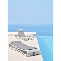 ESCAPE SUNBED IN WHITE GREY CANE-LINE FIBRE