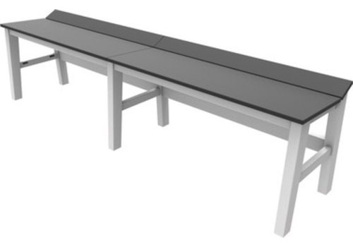 SEASIDE CASUAL SYM 72 INCH DINING BENCH WITH WHITE FRAME AND CHARCOAL SEAT