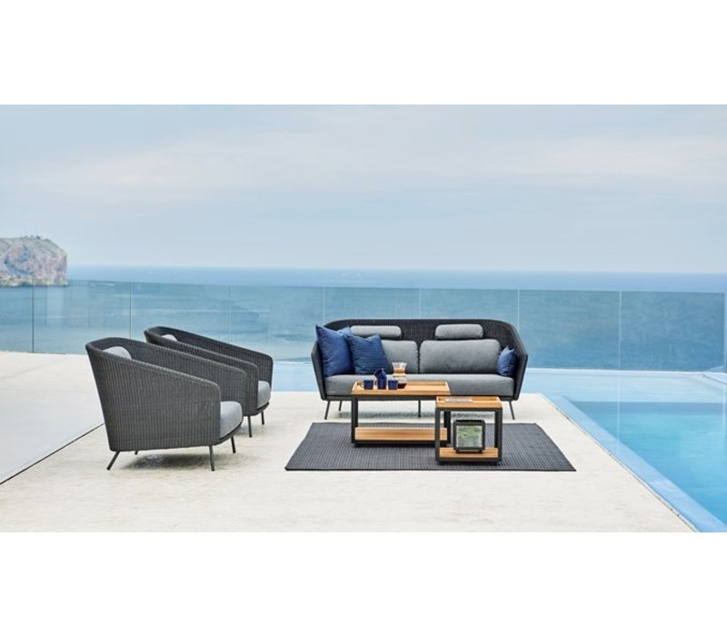MEGA LOUNGE CHAIR IN GRAPHITE WEAVE WITH CUSHIONS IN GREY SOFTTOUCH