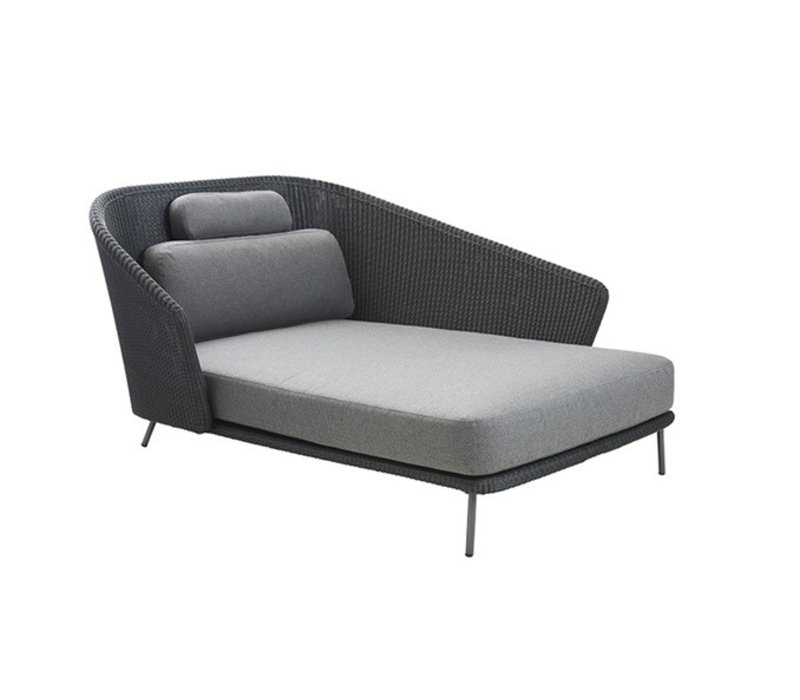 MEGA DAYBED LEFT IN GRAPHITE WEAVE WITH CUSHIONS IN GREY SOFTTOUCH