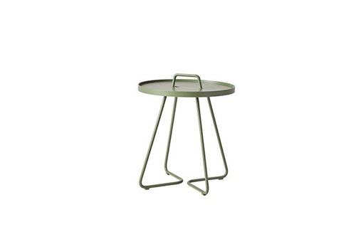 CANE-LINE ON-THE-MOVE SIDE TABLE, SMALL IN OLIVE GREEN