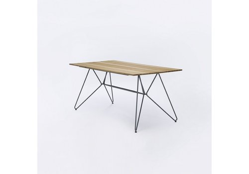 HOUE SKETCH 35x63 DINING TABLE WITH BAMBOO WOOD TOP AND POWDER COATED STEEL BASE