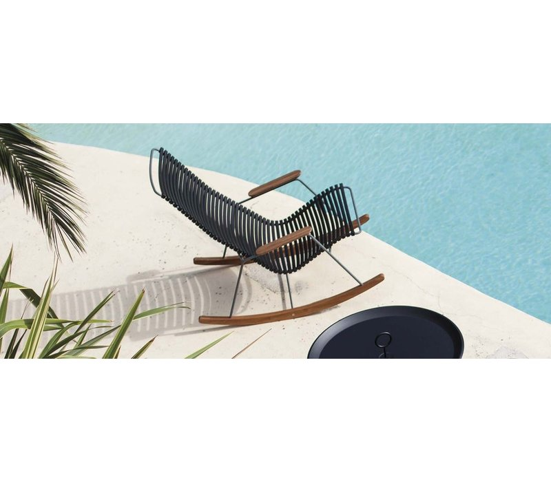 CLICK ROCKING CHAIR WITH MULTI COLOR POLYPROPYLENE PLASTIC SEAT AND BACK, POWDER COATED STEEL FRAME AND BAMBOO ARMRESTS AND RUNNERS.