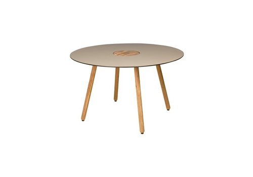 MAMAGREEN BONO 50 INCH ROUND DINING TABLE WITH HPL TOP, TEAK CENTER AND LEGS