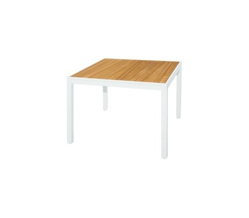 MAMAGREEN ALLUX 40 SQUARE DINING TABLE WITH ABSTRACT TEAK SLAT TOP AND  POWDER COATED ALUMINUM FRAME