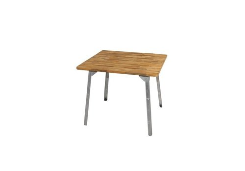MAMAGREEN INDUSTRIAL 36 SQUARE DINING TABLE WITH LAMINATED BRUSHED TEAK TOP AND POWDER COATED GALVANIZED STEEL BASE