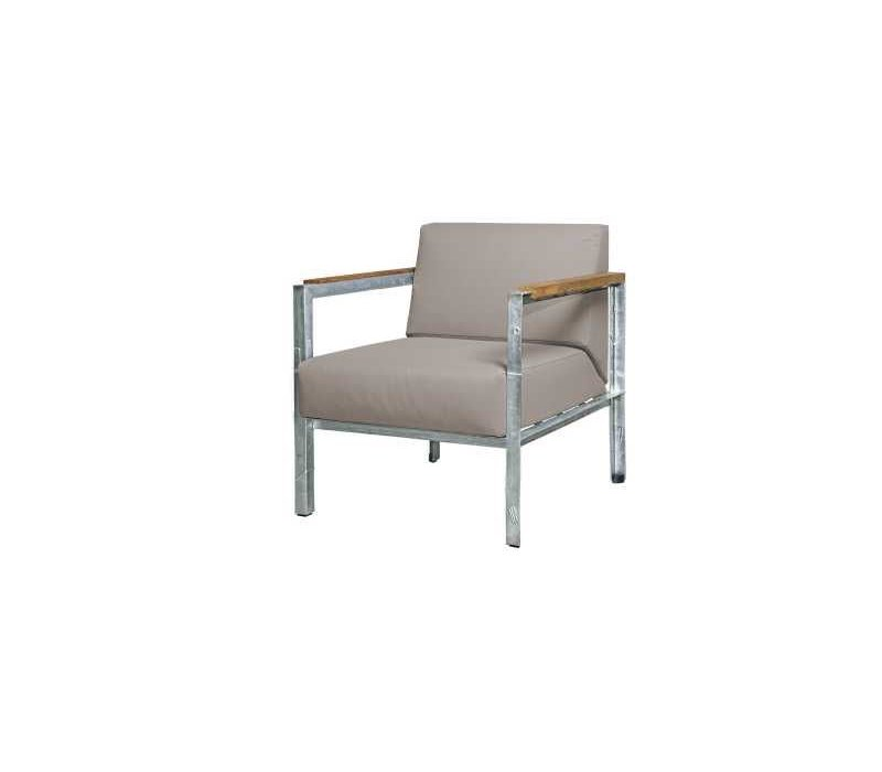 INDUSTRIAL LOUNGE CHAIR WITH CUSHIONS, TEAK ARMREST AND DISTRESSED POWDER  COATED ALUMINUM FRAME