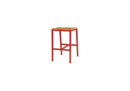 MAMAGREEN INDUSTRIAL X-STYLE BAR STOOL WITH RUSTIC TEAK SEAT AND DISTRESSED POWDER COATED ALUMINUM FRAME