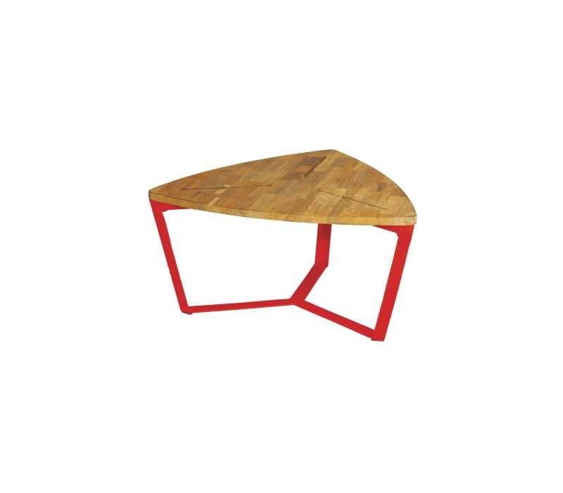 INDUSTRIAL TRIANGULAR MEDIUM TABLE WITH DISTRESSED GALVANIZED STEEL FRAME  AND LAMINATED BRUSHED TEAK TOP