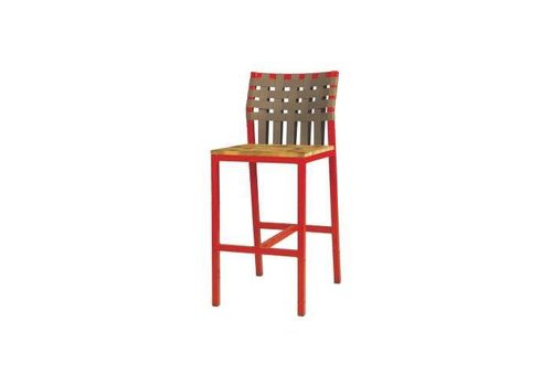 MAMAGREEN INDUSTRIAL X-STYLE WEAVE BAR CHAIR WITH LAMINATED RUSTIC TEAK SEAT, KEOPS WOVEN BACK AND DISTRESSED POWDER COATED ALUMINUM FRAME