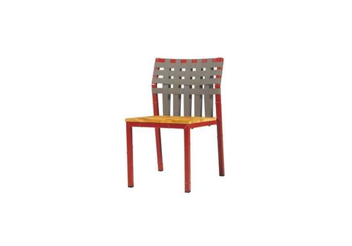 MAMAGREEN INDUSTRIAL X-STYLE WEAVE STACKING SIDE CHAIR WITH DISTRESSED POWDER COATED ALUMINUM FRAME, KEOPS WOVEN BACK AND LAMINATED RUSTIC TEAK SEAT