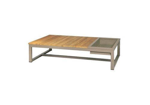 MAMAGREEN MONO 59x29 COFFEE TABLE WITH POWDER COATED ALUMINUM ICE BIN AND FRAME AND RECYCLED BRUSHED TEAK TOP